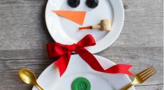 Снеговик из тарелок