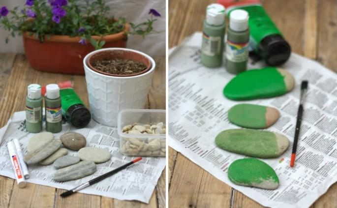Покрасить камни