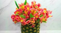 Как сделать вазу из ананаса