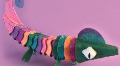 Как сделать картонного хамелеона