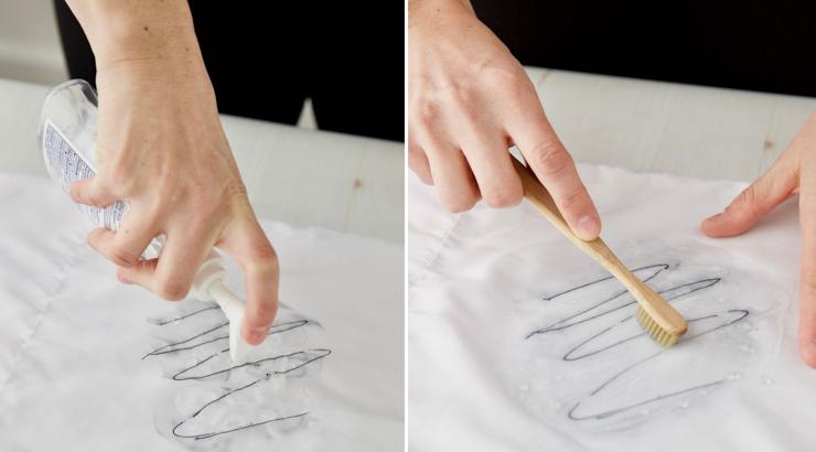 КАк удалить пятно чернил с ткани
